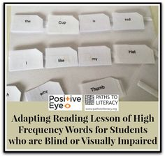 Adapting reading lesson of high frequency words for students with visual impairments.