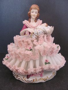 Dresden Lace Figurine Karl Klette Mother and Baby Child Pink Ruffled Dress