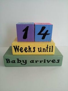 Baby Countdown Wood Blocks/Weeks Until by ForeverYoursCreation, $20.95 #pregnancy #countdown #announcement