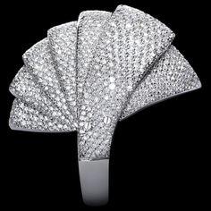 Mattia Cielo - Armadillo - Medium asymmetrical ring 750/1000 white gold - white diamond full pavè  ct. 7,14