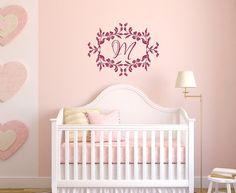 #Nursery Baby Girl Monogram Initial Vinyl Wall #Decal by CuttinUpCustomDieCut