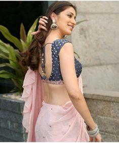 Raai Laxmi Hot In Pink Saree & Back Open Blouse At Where Is The Venkata Laxmi Interview Indian Beauty Saree, Indian Sarees, Indian Dresses, Indian Outfits, Lehenga Choli, Anarkali, Golden Blouse, Blouse Designs Silk, Blouse Patterns