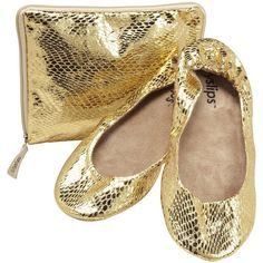 CitySlips Snakeskin Foldable Ballet Flats, Gold ($16) ❤ liked on Polyvore