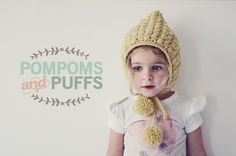 FREE Crochet POMPOMS and PUFFS Hat Pattern.