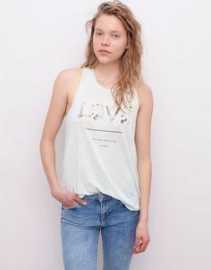Pull&Bear - mujer - camisetas y tops - camiseta print texto espalda abierta - verd.agua - 05242347-V2015