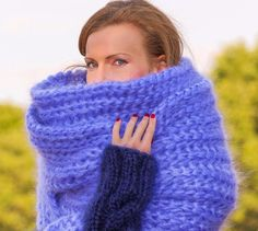 SUPERTANYA BLUE Hand Knitted Mohair Scarf Fuzzy EXTRA LONG Shawl 5 STRANDS 1 kg #SuperTanya #Extralonghandmademohairscarf