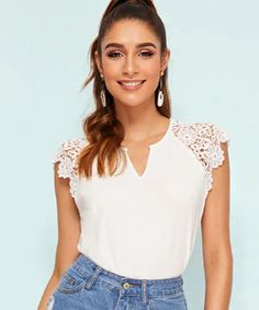 Shop South African Shop, Lace Sleeves, White Flowers, Shops, V Neck, Random, Blouse, Shopping, Women