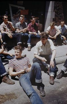 boys fashion jeans style vintage 1950s teens teenagers youth clothing mid century
