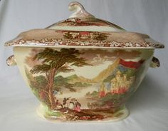 RARE Charles Meigh Brown Transferware Soup Tureen @ #nancysdaildish #jennylind #tureen