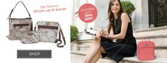 Shop with Savvy Brands for a savvy offer!  You can purchase individual items or shop in bundles to save even more!  Pictured here (left) you see the Shelli (bucket bag with signature pocket design), Sue (cross bosy bag with signature pocket design), Small Scarlett (great accessory to have in your purse) and Charlotte (insulated lunch tote).  Patterns shown are Kensington  (left) and Love KNot Coral (right).  www.mysavvybrands.com