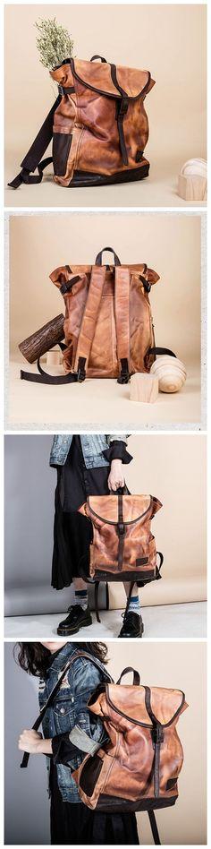 Handmade Top Grain Leather Travel Backpack School Backpack 15'' Laptop Bag AK23