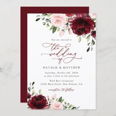 Invite friends and family in style and set the tone for your special day with this charming wedding invitation! #printable #wedding #reception #invitations #weddinginvitations #weddingstationery #SHdesigns Pink And Burgundy Wedding, Deep Red Wedding, Burgundy Flowers, Red Flowers, Dream Wedding, Autumn Wedding, Wedding Things, Perfect Wedding, Wedding Stuff