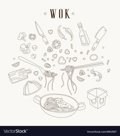 Wok illustration. Asian frying pan. Concept illustration for restaurant hand drawn. Download a Free Preview or High Quality Adobe Illustrator Ai, EPS, PDF and High Resolution JPEG versions. ID #6913507.