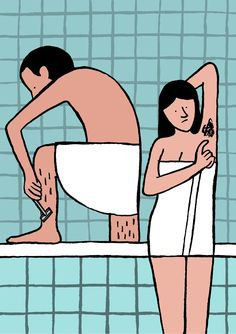 Morning Routine: A couple in a bathroom together. The woman has armpit hair and…