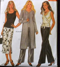 Sewing Pattern New Look 6029 Misses' Wrap Top, Skirt, Tank Top, Duster, and Pants in size 6-16, Bust 30-38 inches Complete by GoofingOffSewing on Etsy