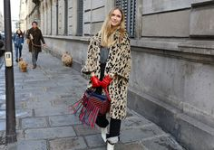 Pernille Teisbaek in a Balenciaga coat with a Loewe bag