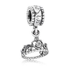 Sweet princess crown dangle charm in sterling silver with clear cubic zirconia - My princess. $45 #PANDORA #PANDORAcharm