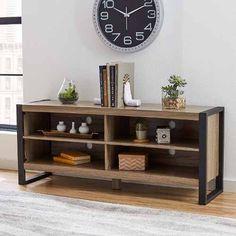 consola loft industrial rack mesa tv hierro vintage madera Más