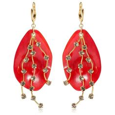 Marni Women Petals Horn & Crystals Drop Earrings found on Polyvore featuring jewelry, earrings, red, red pendant, post back earrings, red jewelry, marni and post drop earrings