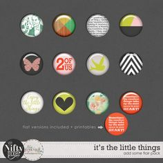 IT'S THE LITTLE THINGS | Flair Buttons These are great lil' buttons for adding a touch of flair to your digital projects. The mix includes some graphic patterns, love sentiments and motifs.  DOWNLOAD INCLUDES:  12X Unique Flair Button designs. 12X Flat versions of the flair designs. All products are saved at 300ppi for optimum printing quality. This is a Personal Use product. Please read our TERMS OF USE.