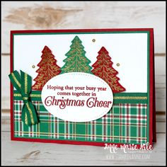 Stampin' Up!® Perfectly Plaid - Stampin' Anne - 2019 Holiday Catalog cards Stampin' Up! Christmas Cards 2018, Stamped Christmas Cards, Homemade Christmas Cards, Stampin Up Christmas, Xmas Cards, Handmade Christmas, Holiday Cards, Christmas 2019, Cards Diy