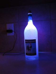 Recycle an old cell phone charger and wine bottle into a gel filled LED lamp. Parts needed: - empty wine bottle and cork (I used a bottle) - wire - blue and red LEDs - 220 Ohm and 100 Ohm resistors - small toggle switch - gel candle wax Liquor Bottle Crafts, Empty Wine Bottles, Alcohol Bottles, Lighted Wine Bottles, Bottle Lights, Liquor Bottles, Bottles And Jars, Glass Bottles, Mason Jars