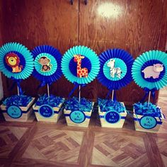 Rosette safari baby shower centerpieces on Etsy, $18.00