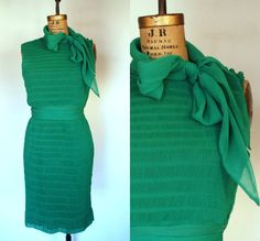 1960s1970s. kelly green. pin tucked. pleated. by DancingPennies, $66.00 Love this dress!  Perfect for holidays!