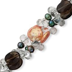 Sterling Silver Smoky Quartz & Peach Coin Freshwater Cultured Gr