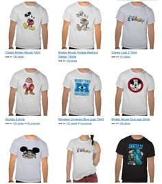 Over 2000 awesome Disney T-shirts (t shirt, tee, shirt, fairy tale, Mickey Mouse, Donald Duck, Minnie, Daisy, Goofy, Pluto, Snow White, Finding Nemo, Dumbo, Winnie the Pooh, Tigger, Tinker Bell, Kermit, The Muppets, Monsters Inc., Toy Story, Cars, Pirates of the Caribbean, The Lion King, Peter Pan, Alice in Wonderland, Wall-E, Pinocchio, Bambi, Lady & the Tramp, Up, 101 Dalmatians, Hannah Montana, High School Musical, The Jungle Book, Aladdin, Cinderella, Beauty & the Beast, The Little…