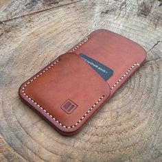 """A smooth tan iPhone 6 sleeve with card/notes pocket. #edc #everydaycarry #handsewn #leatherwork #handmade #iphone #apple #phonecase"""