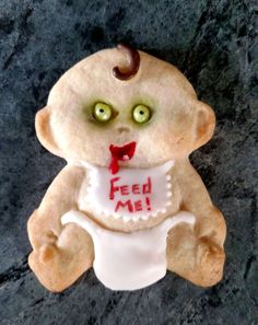 For those who enjoy the creepy side of Halloween, this Baby cookie mold is not afraid to show its darker side. Add some green zombie eyes (made from candy decoration balls and food marker), and some r