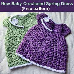 Crochet For Children: New Baby Crocheted Spring Dress (Free pattern)