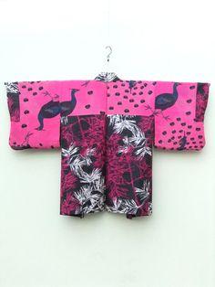 ☆ New Arrival ☆ 'Birds of A Feather' #Women's #black #vintage #meisen #silk #Japanese #haori #kimonojacket #magenta & #white #pine #leaves #motif & #peacock #pattern from #FujiKimono http://www.fujikimono.co.uk/fabric-japanese/birds-of-a-feather.html #textile #costume #fashion #kawaii #cosplay
