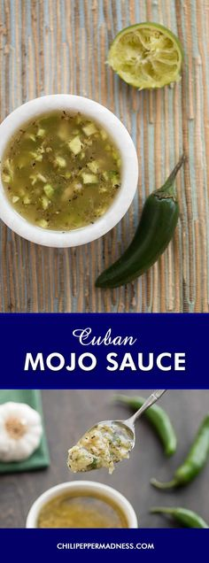 Cuban Mojo Sauce/Marinade - A recipe for an easy-to-make Cuban sauce, which is also popular as a marinade, made with chilies, sour orange, olive oil and dried herbs and seasonings. Make your own mojo sauce at home.