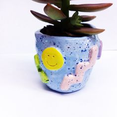 Happy face squiggle shapes small succulent ceramic by eveneve