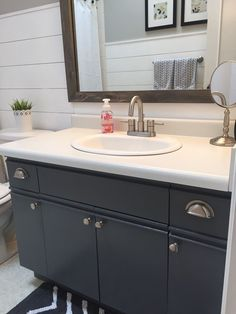 Bathroom Update How To Paint Laminate Cabinets Pinterest - Painting bathroom vanity laminate