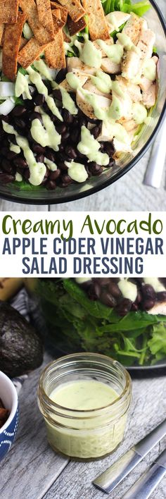 This apple cider vinegar salad dressing is both creamy and tangy, and includes avocado! A delicious complement to salads with a ton of flavor. It's easy to make salad dressing at home!