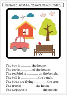 Worksheet: Use words that indicate position. Fill in the blanks using words that indicate position. Positional Words Kindergarten, English Worksheets For Kindergarten, English Grammar Worksheets, Phonics Words, Kindergarten Readiness, 1st Grade Worksheets, Preschool Worksheets, Preschool Learning, Prepositions Worksheets