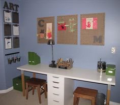 """An inexspensive way to create a    """" homework area""""   A homework/art/study area that could be put in almost any corner.  Love it!"""
