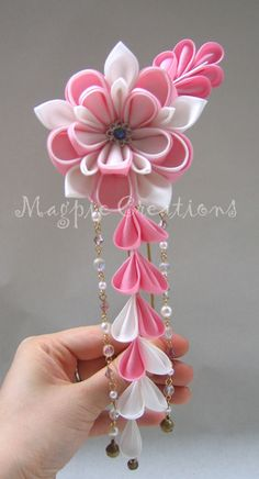 Kanzashi - Japanese hair accessory for myself and my bridesmaids.