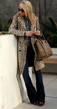 leopard coat & flares