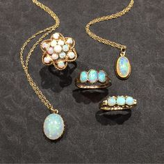 Ethereal opals. Circa 1930 -1960 in yellow gold. We love the way they shimmer!