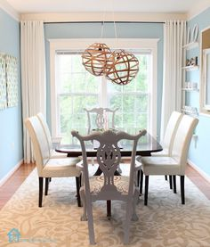 Love this blue color with white and dark table