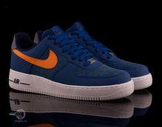 Обувь : Кроссовки Nike Air Force 1 Low (синий/оранжевый/белый)