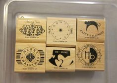 Stampin Up Rubber Stamps Party Punch 6 Mounted Never Used Party Birthday 2007 SU
