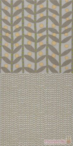 """grey fabric with stripes, leaves, dots, Material: 100% cotton, Fabric Type: smooth cotton fabric, Pattern Repeat: ca. 15cm (5.9""""), Fabric Width: 112cm (44"""") #Cotton #Flower #Leaf #Plants #USAFabrics"""