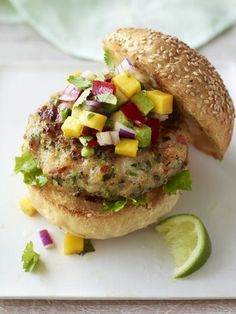 Shrimp Burgers with Mango-Avocado Salsa-  obviously I can't have the Shrimp Burger, but the salsa sounds good.