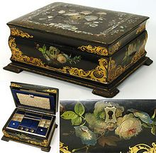 Antique Victorian Papier Mache Sewing Box, Opulent Interior and Pearl & Hand Painted Floral Decoration