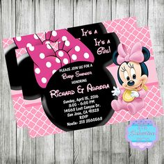 Baby MINNIE MOUSE Baby Shower Invitation, Birthday Invitation, Baby Shower…